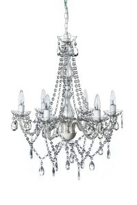 gypsy color 6 light white crystal chandelier