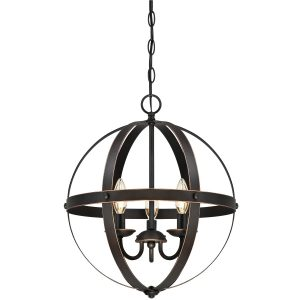 stella mirra 3 light pendant orb chandelier with oil rubbed bronze finish