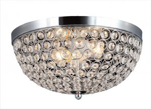 Elegant Designs Elipse Crystal 2 Light Ceiling Flush Mount Chrome