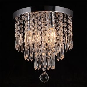 Hile Lighting Crystal Chandelier Flush Mount Ceiling Light Lamp, 3 Lights