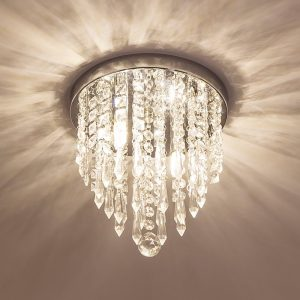 Lifeholder Mini Crystal Chandelier 2 Light Flush Mount Ceiling Light
