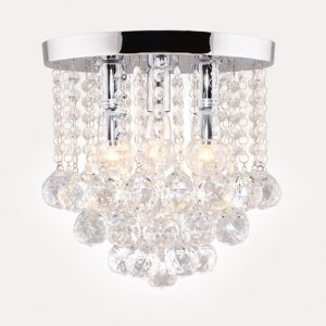 Sunpars House Crystal Chandelier 3 Lights Silver