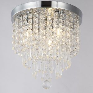 ZEEFO Crystal Chandelier Modern Pendant Flush Mount Ceiling Light Fixture
