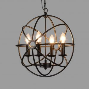 BAYCHEER 4-Light Industrial Vintage Wrought Iron Metal Globe Chandelier