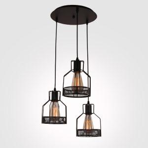 Unitary Black 3-Light Rustic Metal Cage Pendant Light