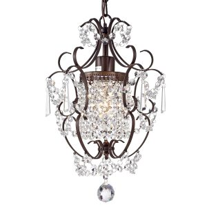 Bronze Iron Crystal Chandelier, 1 light