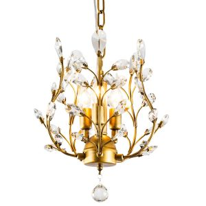 Garwarm Bronze Crystal Chandelier, 3 Lights