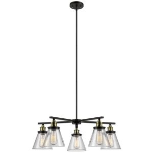 Globe Electric Shae Vintage Edison Oil Rubbed Bronze Chandelier, 5 Lights
