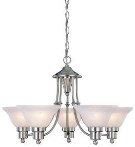 Hardware House Brushed Nickel Bristol Chandelier, 5 Lights