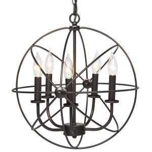 Industrial Metal Vintage Lighting Ceiling Chandelier, 5 Lights