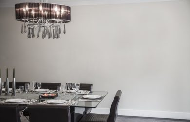 dining room with modern chandelier and furniture