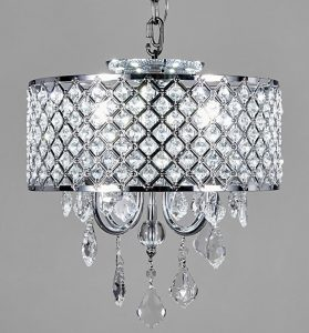 New Galaxy Lighting Chrome Round Metal Shade Crystal Chandelier, 4 Lights