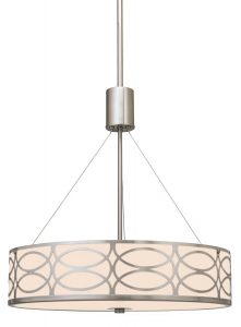 "Revel / Kira Home Sienna 18"" Metal Drum Chandelier + Glass Diffuser, 3 Lights"