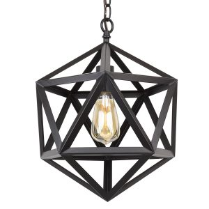 "Revel / Kira Home Trenton 16"" Industrial Black Wrought Iron Metal Chandelier, 1 Light"