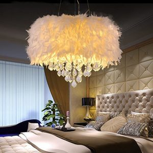 Sunpars House White Feather Crystal Chandelier, 4 Lights