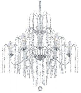 "crystal rain 29"" wide 6-light crystal chandelier"
