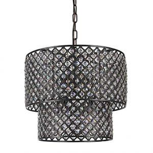 Edvivi Marya 8-Light Antique Black Double Round Drum Shade Crystal Chandelier