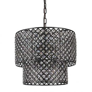 Edvivi Marya 8-Light Antique Black Double Round Drum Shade Crystal Chandelier