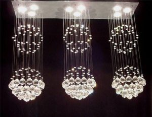 modern contemporary triple rain drop crystal chandelier