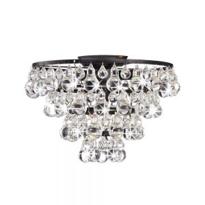 Tranquil Crystal and Bubble 4-Light Flush Mount Chandelier