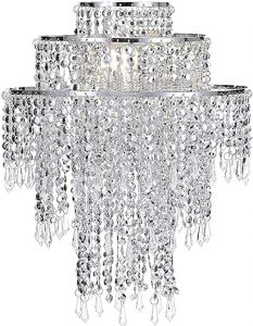 Waneway Acrylic Chandelier Shade, Silver Ceiling Light Shade Beaded Pendant Lampshade with Crystal Beads and Chrome Frame